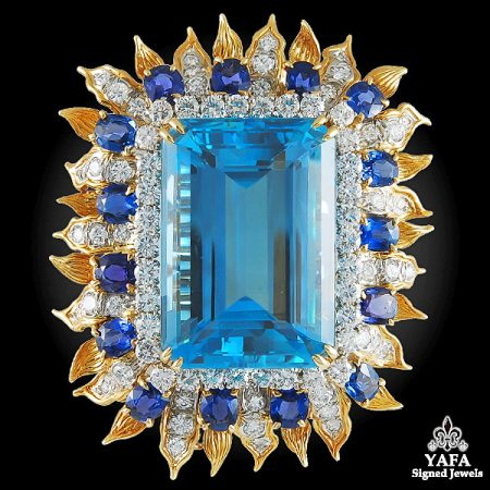 TIFFANY & Co. Emerald-cut Aquamarine, Diamond, Sapphire Brooch