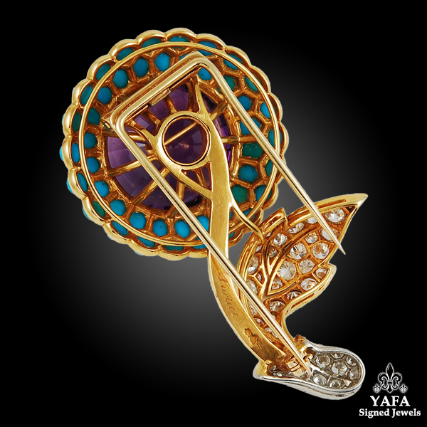 CARTIER Amethyst, Turquoise Double Clip Brooch