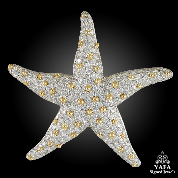 OSCAR HEYMAN Diamond Starfish Brooch