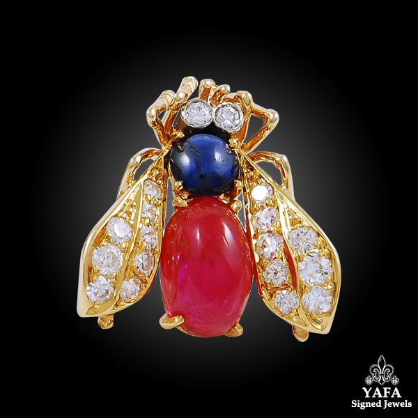 VAN CLEEF & ARPELS Three Gold Cabochon Ruby, Sapphire, Diamond Bee Brooch