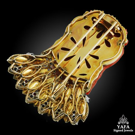 18k Gold Carved Coral, Diamond, Sapphire, Turquoise & Ruby Brooch