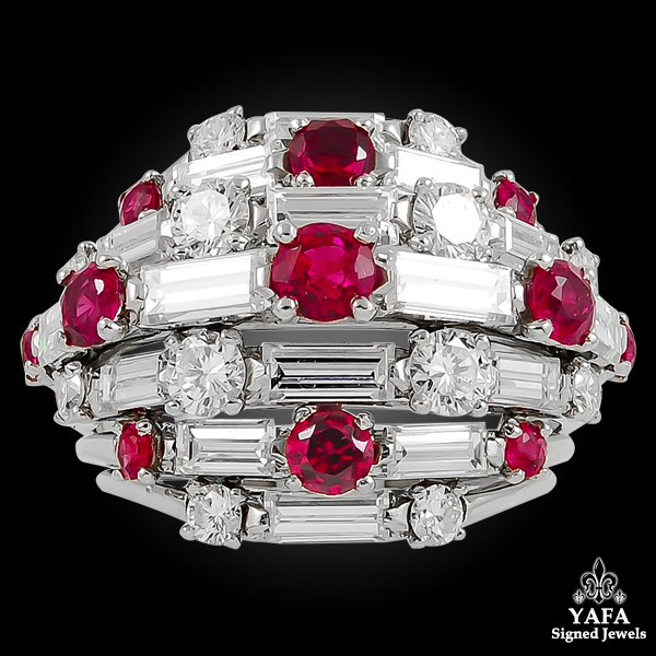 VAN CLEEF & ARPELS Platinum Diamond, Ruby Dome Ring