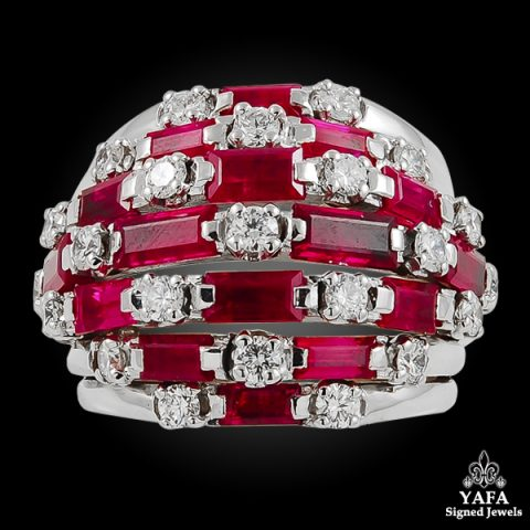 VAN CLEEF & ARPELS Round Diamond & Ruby Ring