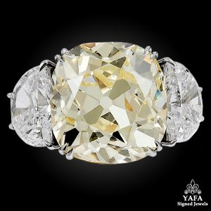 Platinum Old Mine Natural Fancy Yellow Diamond Ring - Diamond Clarity