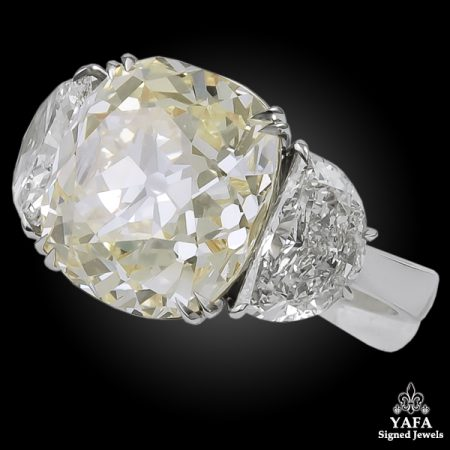 Platinum Old Mine Natural Fancy Yellow Diamond Ring