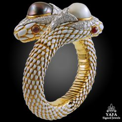 DAVID WEBB Two Tone Two Snake Heads Bangle