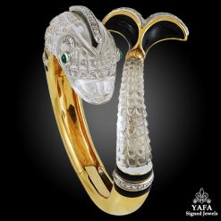 DAVID WEBB Two Tone Diamond, Crystal, Emerald Dolphin Bangle