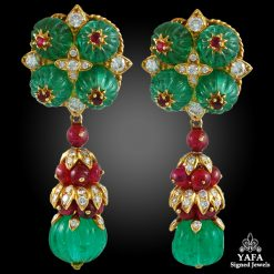 VAN CLEEF & ARPELS Diamond, Carved Emerald & Ruby Ear Clips