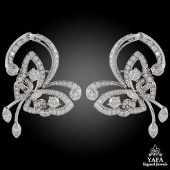 VAN CLEEF & ARPELS Diamond Flying Butterfly Earrings