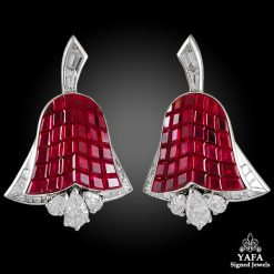 VAN CLEEF & ARPELS Diamond, Mystery-set Ruby Tulip Ear Clips