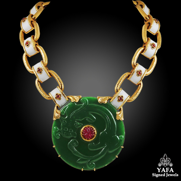 DAVID WEBB Ruby, Nephrite Gold Necklace