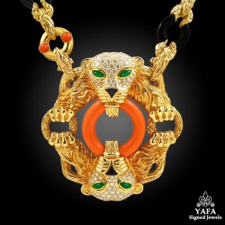 CARTIER Diamond, Coral, Onyx, Emerald Two Panther Heads Pendant Necklace