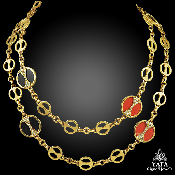 BULGARI Coral & Onyx Long Necklace