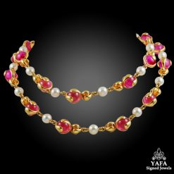 MARINA B. Pink Quartz, Citrine & Pearl Long Necklace