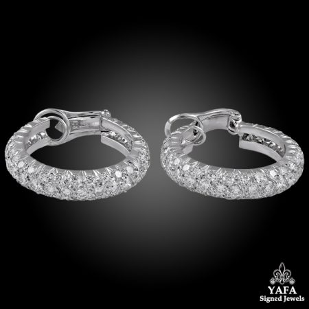 VAN CLEEF & ARPELS Diamond Pave Hoop Earrings