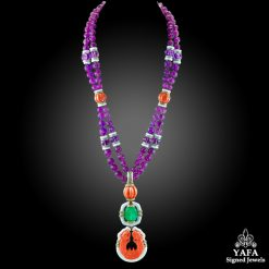 DAVID WEBB Carved Amethyst Beads, Diamond, Coral, Emerald Pendant Necklace