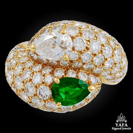 CARTIER Pear-Shaped Diamond, Emerald Ring