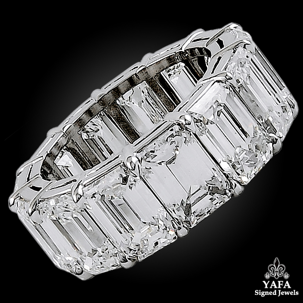 Platinum Emerald-cut Diamond Eternity Ring