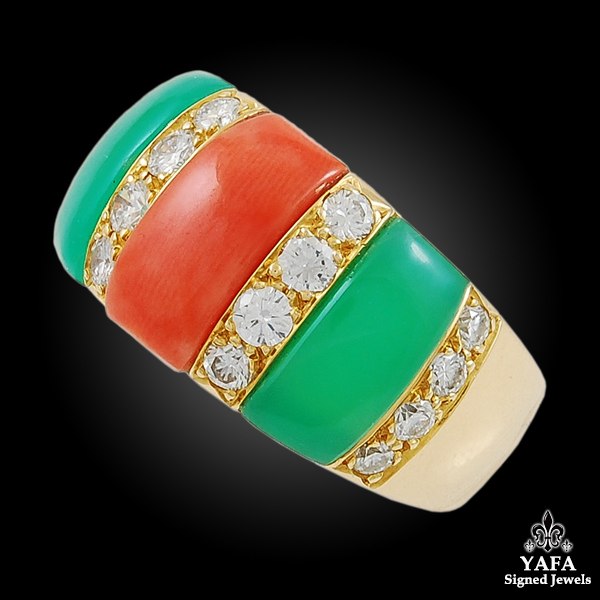 VAN CLEEF & ARPELS Diamond, Coral, Chrysoprase Earring & Ring