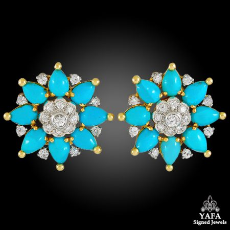 MARCHAK Diamond & Turquoise Ear ClipsMARCHAK Diamond & Turquoise Ear ClipsMARCHAK Diamond & Turquoise Ear Clips