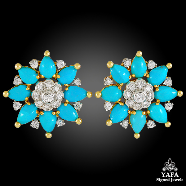 MARCHAK Diamond & Turquoise Ear Clips