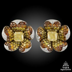 Fancy Intense Yellow Diamond Flower Earrings