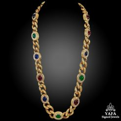 VAN CLEEF & ARPELS Diamond, Cabochon Ruby, Emerald, Sapphire Necklace