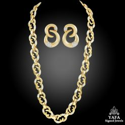 CARTIER Diamond Long Link Chain Necklace & Earrings