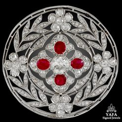 Antique Diamond, Ruby Circle Brooch