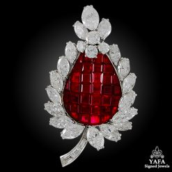 BULGARI Diamond, Mystery-set Ruby Brooch