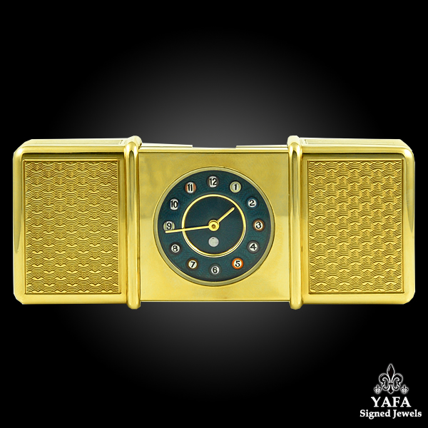 ASPREY 18k Gold Travel Clock