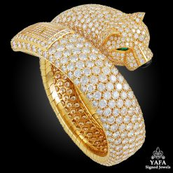 CARTIER Diamond Panther Cuff Bangle Watch