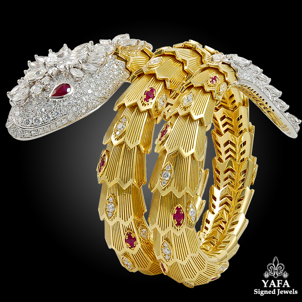 BULGARI Diamond & Ruby Serpenti Gold Bracelet