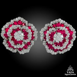 VAN CLEEF & ARPELS Diamond & Ruby Flower Earrings
