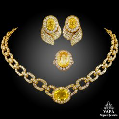 VAN CLEEF & ARPELS Diamond & Yellow Sapphire Necklace Suite