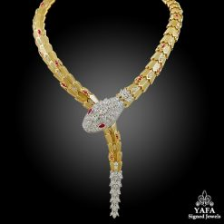 BULGARI Diamond & Ruby Serpenti Gold Necklace