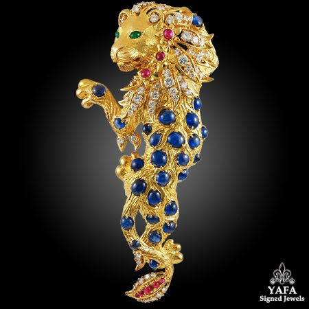 CARTIER Diamond, Cabochon Sapphire, Ruby, Emerald Lion Gold Brooch