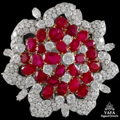 BULGARI Diamond & Burma Rubies Brooch