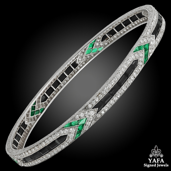 Art Deco VAN CLEEF & ARPELS Diamond Emerald & Sapphire Bangle