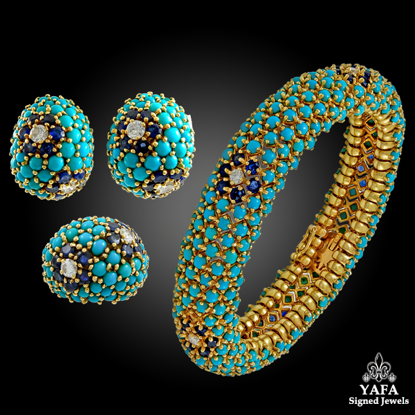 Pre-owned Diamond Sapphire & Turquoise Bracelet Suite