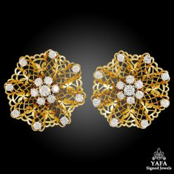 VAN CLEEF & ARPELS Diamond Dantelle Ear Clips