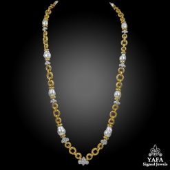 DAVID WEBB Diamond, Baroque Pearl Necklace