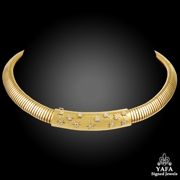 VAN CLEEF & ARPELS Diamond Gold Tubogas Necklace