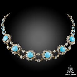 Silver Over Gold Diamond Turquoise Necklace