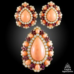 VAN CLEEF & ARPELS Coral, Amethyst & Diamond Brooch/Pendant & Ear Clips