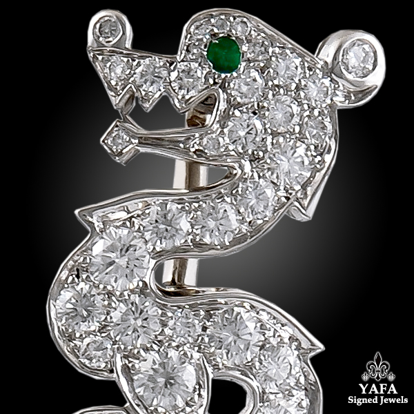 CARTIER Diamond Emerald Coral Dragon Jabot Brooch