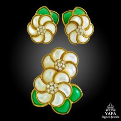 VAN CLEEF & ARPELS Diamond, Chrysoprase Flower Brooch & Earrings