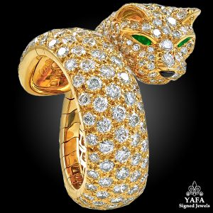 CARTIER Diamond Emerald Eyes Panther Ring Vintage Cocktail Ring