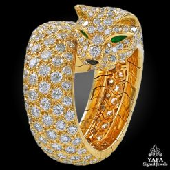 CARTIER Diamond Emerald Eyes Panther Ring