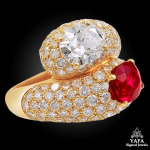 CARTIER Diamond Burma Ruby Ring - Vintage Diamond Jewelry